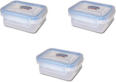 eGizmos Quick Lock Polypropylene (Pack of 3) 150ML Rectangle Shape 3 Containers Lunch Box