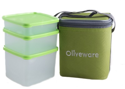 Oliveware LB50green 3 Containers Lunch Box(1850 ml)