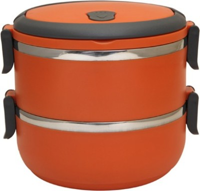 Easyhome Stainless Steel Round Double Layer 2 Containers Lunch Box