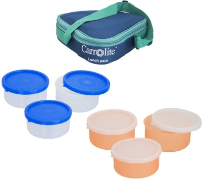 Carrolite Combo Triangle Blue With container 6 Containers Lunch Box
