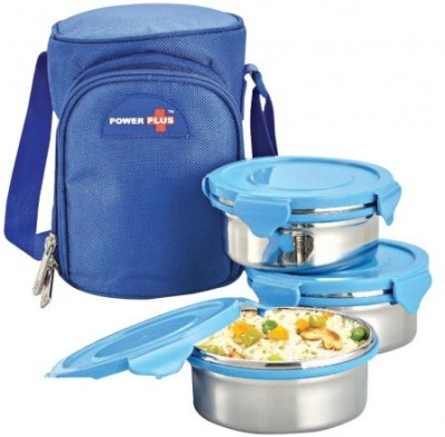 Power Plus Zippy Bag With Metal 3 Containers Lunch Box