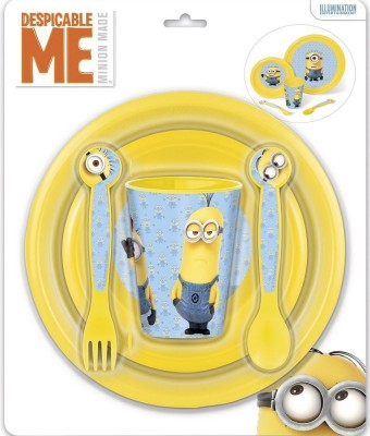 Minions Plastic Cutlery Set Blue Yellow 1 Containers Lunch Box