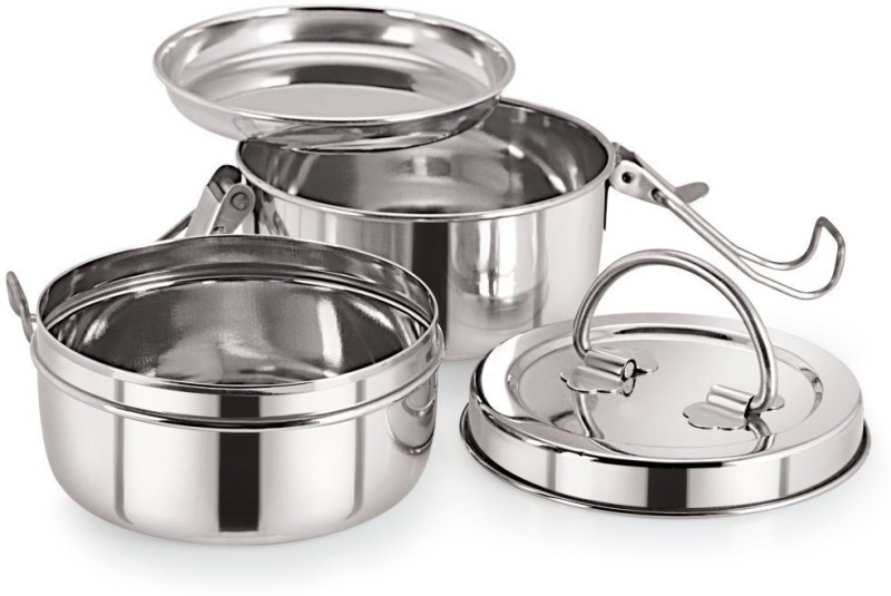 Neelam Stainless Steel Tiffin Plate, 7x2 2 Containers Lunch Box(800 ml)