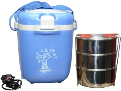 Nayasa Electric Plastic Tiffin 3 Containers Lunch Box