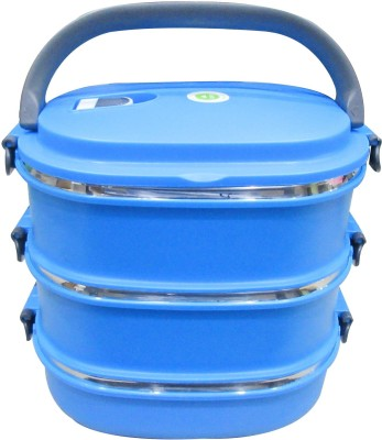 Blue Birds Stainless Steel 3 Containers Lunch Box