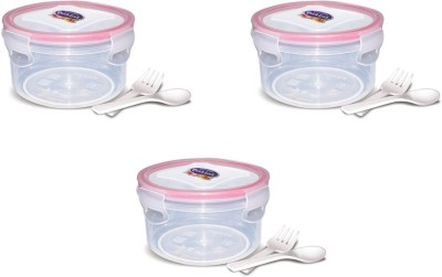 eGizmos Quick Lock Polypropylene (Pack of 3) 350ML Rectangle Shape 3 Containers Lunch Box