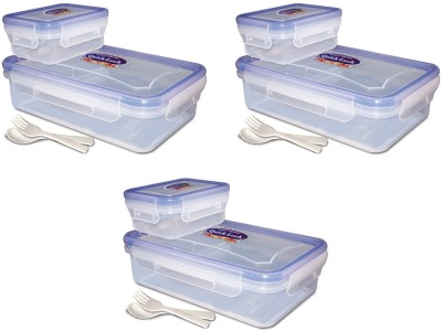 eGizmos Quick Lock Polypropylene (Pack of 3) 650ML Rectangle Shape 3 Containers Lunch Box
