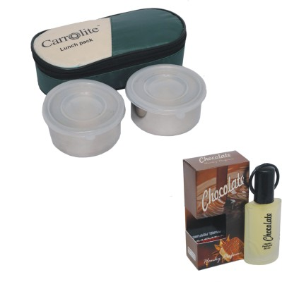Carrolite Combo Silver Stainless steel Lunchbox Mehndi - 2 Pieces with Chocolate Eda De Perfume 30 Ml 2 Containers Lunch Box