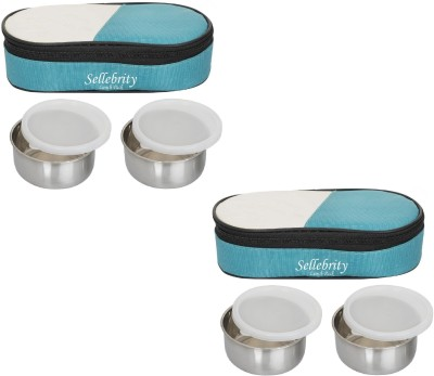 Sellebrity Combo 2 in 1 Green 4 Containers Lunch Box