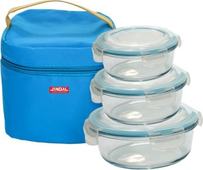 Jindal Microwavable Round Containers With Lunch Bag & Plastic Lid 3 Containers Lunch Box(2000 ml)