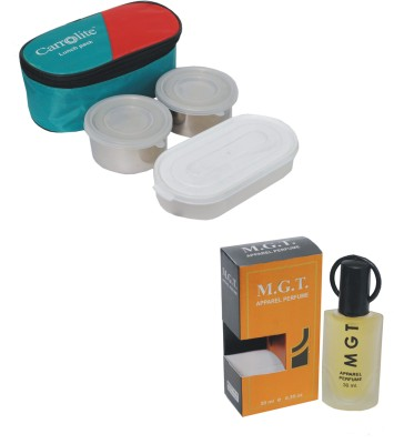 Carrolite Combo Rectangle Stainless steel Lunchbox Red with M.G.T Eda De Perfume 30 Ml 3 Containers Lunch Box