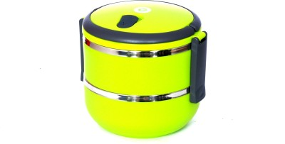 Chrome Lunch Box Round Shaped (Two Layer)9567 2 Containers Lunch Box