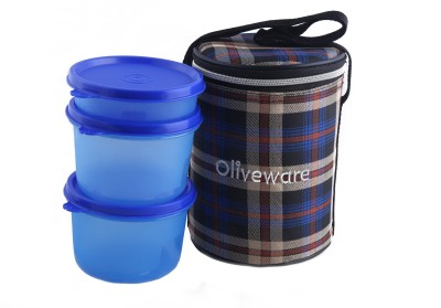 Oliveware LB39ChkBlue 3 Containers Lunch Box