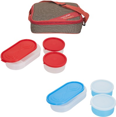 Carrolite Combo Metro Red Brown With 3 Extra Boxes 6 Containers Lunch Box