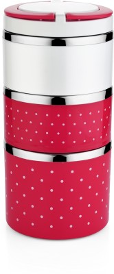 Classic Essentials Elegent Double Color 3 Containers Lunch Box