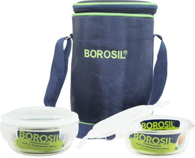 Borosil Klip N Store Round 400ml 3 Containers Lunch Box