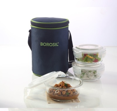 Borosil Microwavable Klip N Store Round 400 Ml 3 Containers Lunch Box
