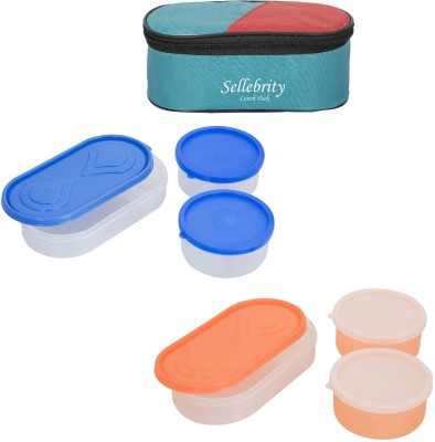 Sellebrity Rectangle Shape 3 in 1 With 3 Boxes 6 Containers Lunch Box(1300 ml)