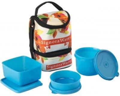 Signoraware Blossom Trio Lunch Box- Blue (1130ml) 3 Containers Lunch Box
