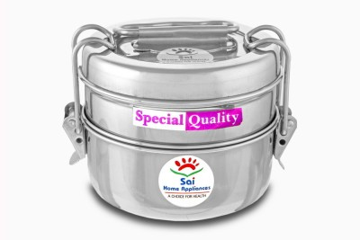 Sai Home Appliances 24 Carat Tiffin Wo/P 9*2 2 Containers Lunch Box