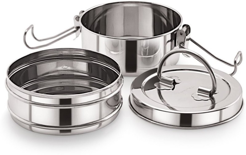 Neelam Stainless Steel Tiffin Sada, 9x2 2 Containers Lunch Box(1200 ml)