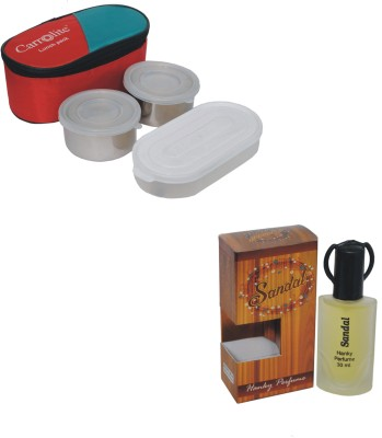 Carrolite Combo Rectangle Stainless steel Lunchbox Red with Sandal Eda De Perfume 30 Ml 3 Containers Lunch Box