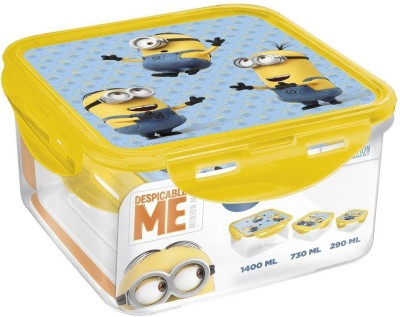 Minions Square Food Container 3 Containers Lunch Box
