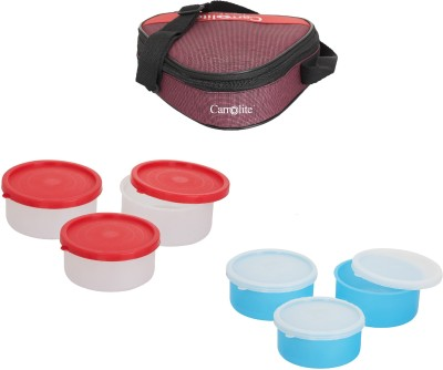 Carrolite Combo Triangle Red With container 6 Containers Lunch Box