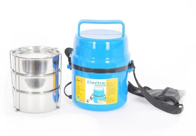 DIZIONARIO PowerPlus Electra Hot Lunch Box Electric Lunch Box 3pc Steel Container Tiffin Box 3 Containers Lunch Box