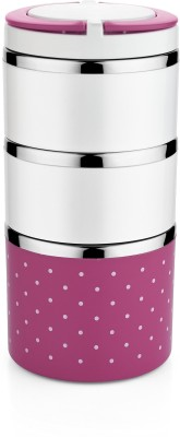 Classic Essentials Ebony Single Color Pink 3 Containers Lunch Box