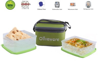 Oliveware LB#49green 2 Containers Lunch Box