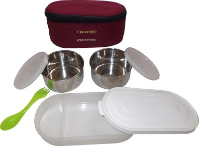 Carrolite Maya Browny Deluxe 2+1 With 2 Containers And 1 Chapati Tray 3 Containers Lunch Box