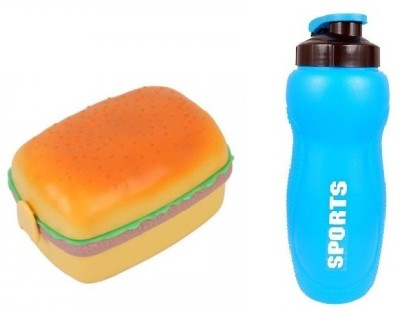 i-gadgets Cute Burger Bento and Sports Water Bottle Set 3 Containers Lunch Box