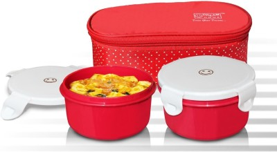 Dream Home Superb Lunch Box Microwave safe Containers (RED) 2 Containers Lunch Box
