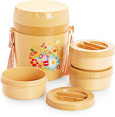 Cello World MBeige3 3 Containers Lunch Box