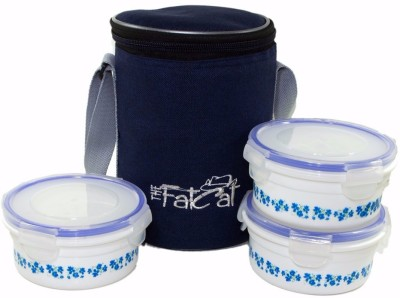 The Fat Cat blue n white 3 Containers Lunch Box
