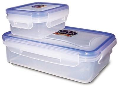 eGizmos Quick lock Polypropylene 650ML Rectangle Shape 2 Containers Lunch Box