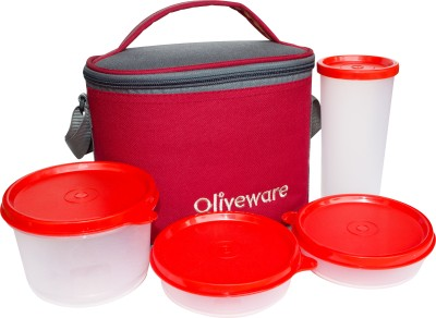 Oliveware LB54Red 4 Containers Lunch Box(1355 ml)
