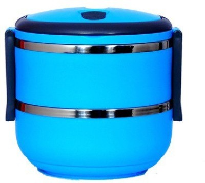 Homio Double Layer Round Blue 2 Containers Lunch Box