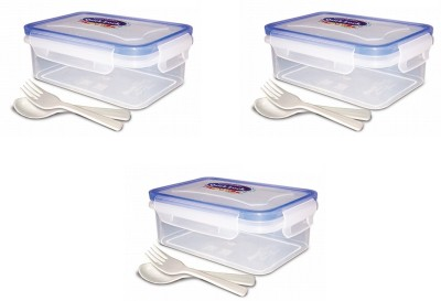 eGizmos Quick Lock Polypropylene (Pack of 3)500ML Rectangle Shape 3 Containers Lunch Box