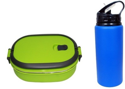 i-gadgets Green Insulated with Metal 600ml Bottle 1 Containers Lunch Box