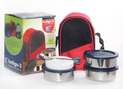 Stenso Indigo 3 Red Colour 3 Containers Lunch Box
