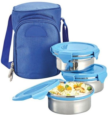 Empreus Power Plus Zippy Bag Metal 3 Containers Lunch Box