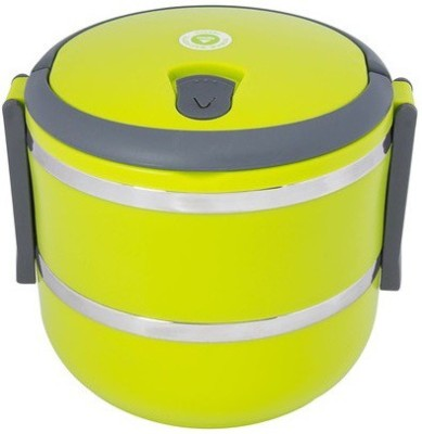 Homio Double Layer Round Green 2 Containers Lunch Box