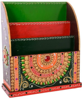 eCraftIndia Papier-Mache Embossed 3 Racks Table Top Magazine Holder