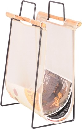 View Mddesign Floor Standing Magazine Holder(White, Iron, Wooden, Nylon) Furniture (MD Design)