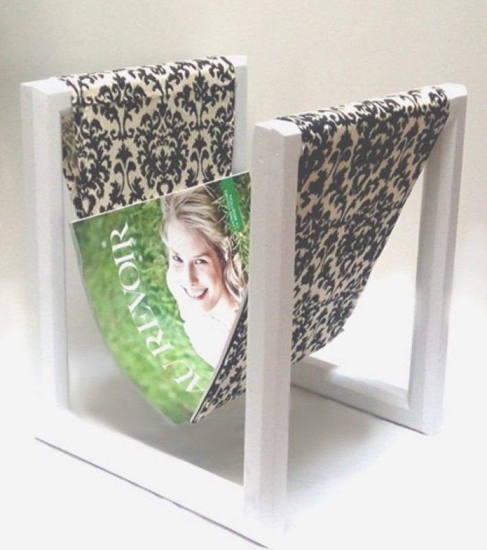 Palettino IKAT PRINT MAGAZINE HOLDER Floor Standing Magazine Holder(Black, White, Wooden)