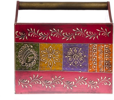Smile2u Retailers Rajasthani Art Worked Table Top Magazine Holder