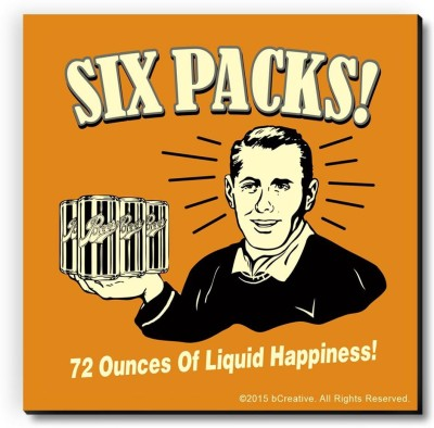 bCreative Six Pack 72 Ounces of Liquid Happiness Fridge Magnet, Door Magnet