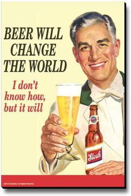 bCreative Beer Will Change The World Fridge Magnet, Door Magnet